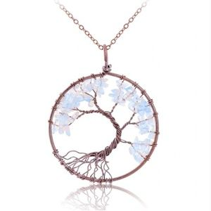 Jewelry - NEW Brass White Gray Chakra Tree Of Life Necklace
